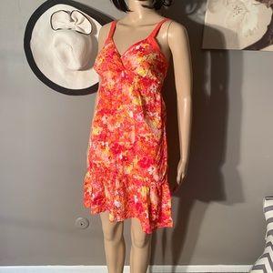 Sonoma Size XS Summer Orange Red Dress Ruffle